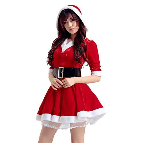 PROKTH Frauen Weihnachtskleider, Cosplay Santa Damen Sexy Fancy Weihnachtskleid Miss Santa Kostüm Kleider mit ()
