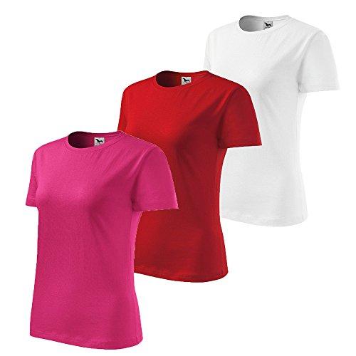 3er Pack Dress-O-Mat Damen T-Shirt Shirt rundhals klassisch Tailliert weiß rot lila