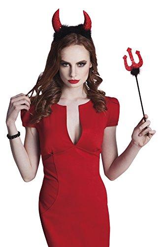 Halloweenia - Devil Hörner und Dreizack Gabel mit Plüsch und Glitzer Kostüm , (Glamour Kostüme Devil Girl)