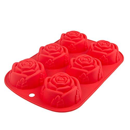 Silikonform mit 6 detailreichen Rosen für Kuchen, Muffins, Cupcake, Pudding, Romantisches Geschenk, Geburtstag, Valentinstag, Jahrestag, Kuchen, Pudding, Schokolade, Brownies, Backform, Farbe: Rot