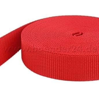 10m PP Gurtband - 20mm breit - 1,4mm stark - rot (UV)