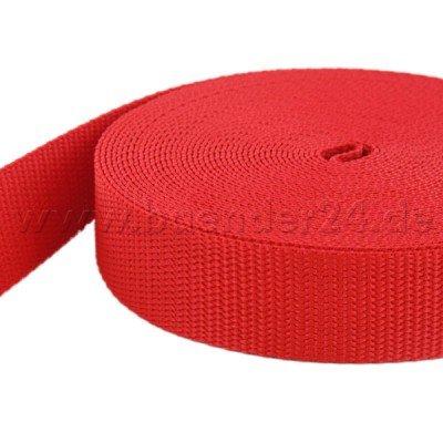 10m PP Gurtband - 40mm breit - 1,4mm stark - rot (UV)