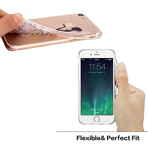 Case for iPhone 6 Plus -Transparent Silicone Shock Absorption Flexible TPU Rubber Gel Bumper Anti-Scratch Slim Protective Cases Clear Back Cover for iPhone 6 Plus- Black Colorful Butterf