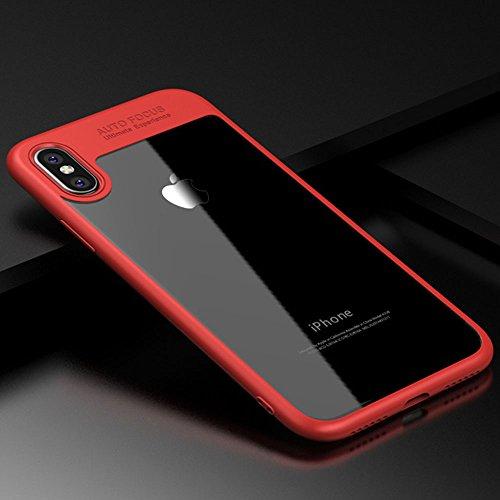 Custodia iPhone X, PULEN [Ultra Hybrid] [Absorption-Shock] Slim Protezione e Premium chiarezza Case Air-Cushion Absorption Technology Cover Protettiva con Impact Absorbing Gomma e pannello posteriore  Rosso