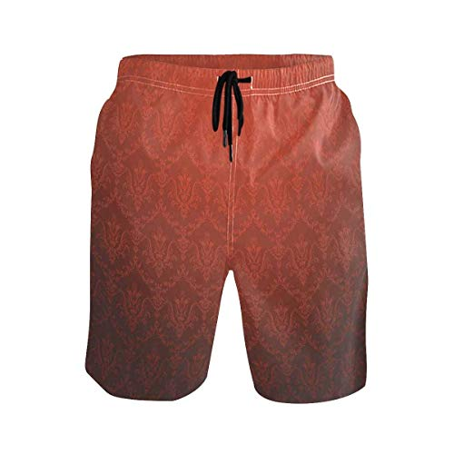 Men's Summer ShortsAntique Aztec Mayan Folk Abstract with Animal and Geo,Size:XL -
