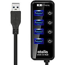 Atolla Hub USB 3.0 4 puertos y 1 puerto de Carga rápida adicional con interruptor LED y el cable USB de 62cm portátil para el ordenador portátil PC Mac