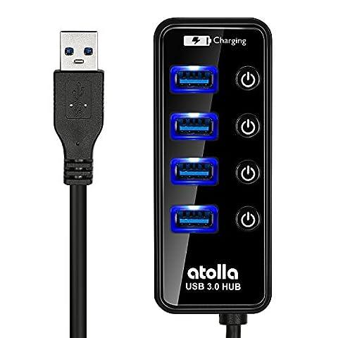 Atolla 4 Port USB 3.0 Hub Erweiterung Super Speed Datenhub Extra mit LED Ein Aus Schalter und 1 USB Power Charging Ladeanschluss für Apple MacBook,MacBook Air,MacBook Pro,Mac Mini,iMac,MacPro,Windows Laptops PCs und weiteren USB 3.0 kompatiblen