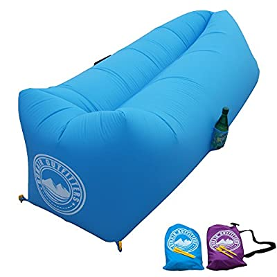 Rapid Inflation Air Lounger With TPU-Coated Air Bladder. Lightweight Parachute Ripstop Fabric. Fold-Away Chillout Lounger, Air Hammock For Beach, Camping, Pool Party And Indoors. - low-cost UK light store.