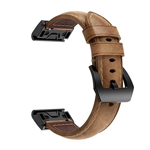FeiliandaJJ Leder Uhrenarmbänder Für Garmin Fenix   5X/Fenix   5X Plus/Fenix   3/Fenix   3 HR/für D2 Charlie/für Descent Mk1, Armbänder Sport Ersatzarmbänder Uhrenband Replacement Watch Band (Braun) Fenix-serie