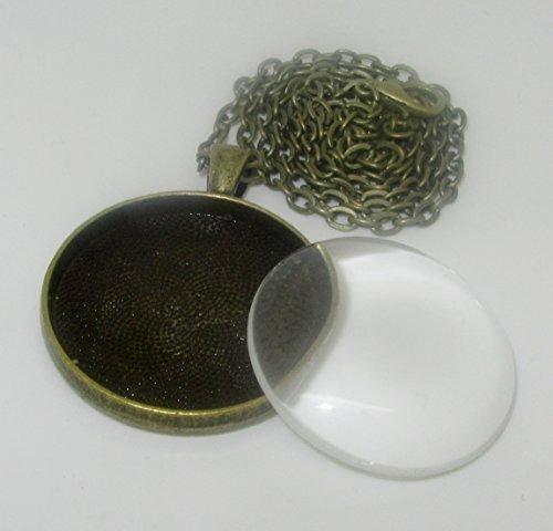 bastel-express-lot-de-2-medaillons-ronds-couleur-bronze-avec-chaine-support-33-mm-et-cabochon-en-ver
