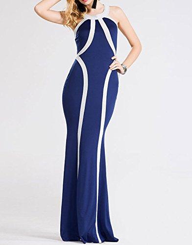 Smile YKK Fashion Femme Robe Longue Peplum Slim Couleurs Mélange Moulante Colonne Rayures Bleu Foncé
