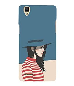 For OPPO F1 -Livingfill- Woman with blue hat Printed Designer Slim Light Weight Cover Case For OPPO F1 (A Beautiful One of the Best Design with a Classic Theme & A Stylish, Trendy and Premium Appeal/Quality) (Red & Green & Black & Yellow & Other)
