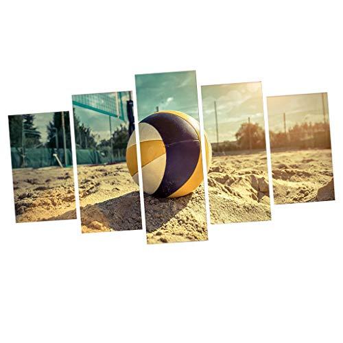 SM SunniMix 5pcs Moderne Design Leinwandbild Kunstdruck Wandbilder Bilder Wanddeko, Auswahl - Beach-Volleyball