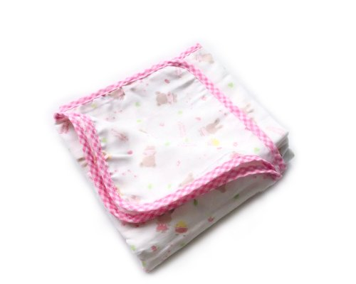 BONAMART ® Pink 75x75cm Newborn Baby Infant Girl Boy 4 Layer Soft Gauze Muslin Swaddler Blanket Bath Towel 100% cotton