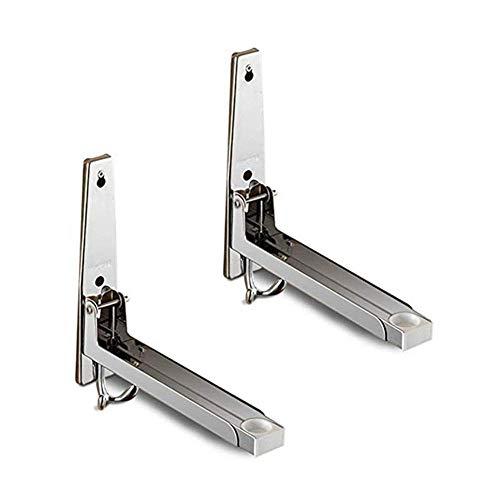 SCJ 2 Piezas Hornos de microondas de Acero inoxidable Soportes de montaje en pared Soportes de repisable plegables de servicio pesado Accesorios de cocina para EL hogar
