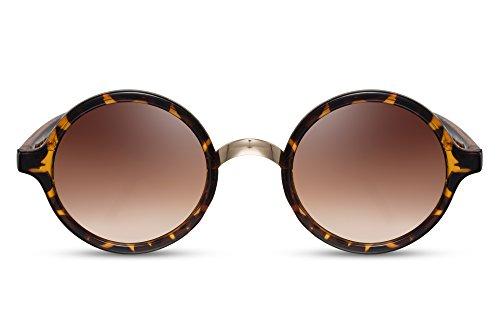 Cheapass Sonnenbrille Braun Animal Print Runde Gläser Vintage Damen Herren