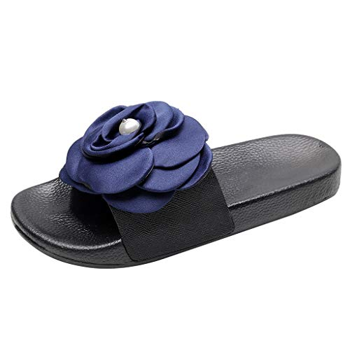 i-uend Frauen-Nette Blumen-rutschfeste Flipflop-Breathable Ebenen-offene Zehen-Pantoffel, helle beiläufige Sandelholz-Ausgangsschuhe