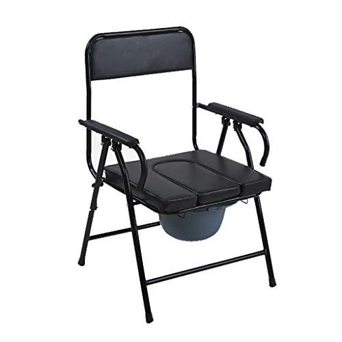 Tragbarer Faltbarer Nachttisch aus Stahl mit Toilettensitz, Papierhandtuchhalter und Abdeckung (schwarz) (Kunststoff-stuhl Gleitet)