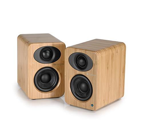 Steljes Regallautsprecher Lautsprechersystem Subwoofer 2 Stück Kompakt Paar mit Bluetooth AptX Dual 35W Soundsystem Stereo Studio für PC Laptop Handy Smartphone Fernseher TV Gaming NS1 Braun