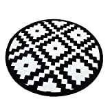 Morbuy Tapis Rond Lavable en Machine La géométrie Interieur Anti Slip Chambre à Coucher Salon Tapis d'Entrée Absorbant Antidérapant (100cm, Petits carrés Noirs et Blancs)