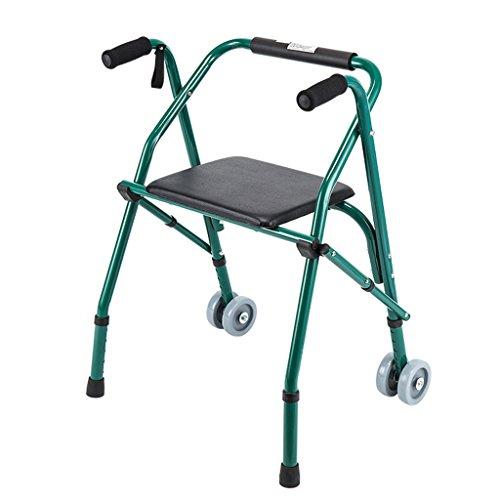 Folding Walker einstellbare Gehhilfe mit Rädern und Kissen ausgestattet geeignet für ältere Menschen und Menschen mit Mobilitätsproblemen tragfähig 100KG ( Color : Green )