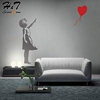 Utopiashi Banksy Girl Balloon Love Vinyl Wall Sticker Decal Bedroom Kids Baby Room Nursery
