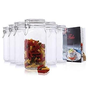 Bormioli 6er Set Gläser mit Bügelverschluss Original Fido Einmachglas 1,5L incl Rezeptheft