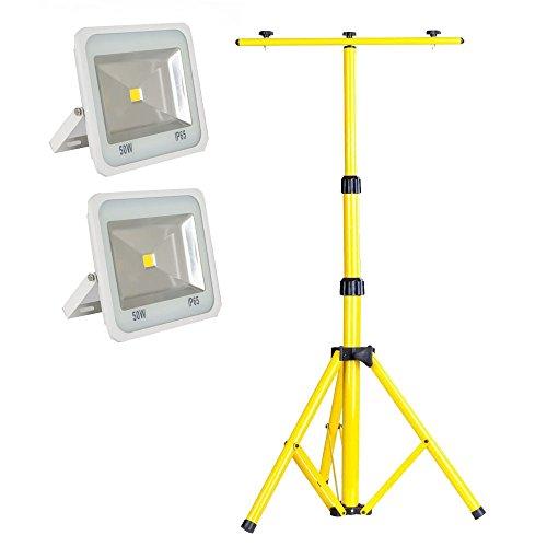 SAILUN 2 x 50W Ultraslim LED Fluter Warmweiß Strahler Außen Scheinwerfer Flutlicht Weiße Grenze Hochfestes Aluminium IP65 Wasserdicht AC85-265V+ Teleskop Stativ(50-150CM) (50W, Warmweiß)