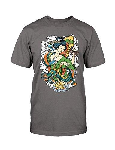 Geisha T-Shirt Neu Fun Kult Samurai Asia Style Trend Blogger Japan Asian Kunst Grau