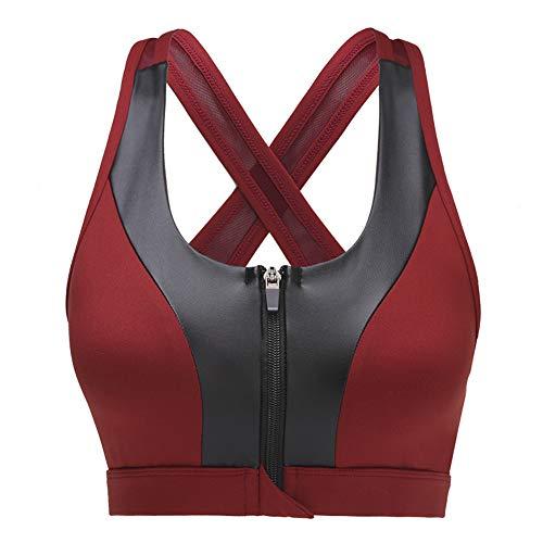 AMOYER High Impact Sport-BH mit Vorder Reißverschluss Frauen Adjustable Yoga Bras Frauen (Sport-bh Mit Front-verschluss)