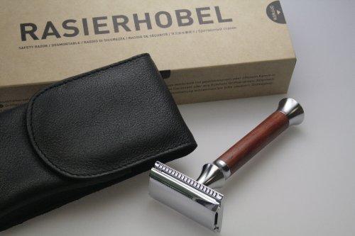 TIMOR Rasierhobel mit Padoukholz-Griff - geschlossener Kamm - Inklusive Lederetui, Designed and Made...