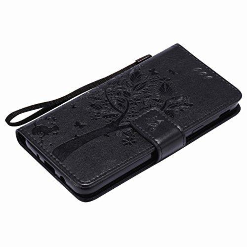 Custodia Samsung Galaxy J5 Prime / SM-G570F Cover Case, Ougger Fortunato Foglia Stampa Portafoglio PU Pelle Magnetico Stand Morbido Silicone Flip Bumper Protettivo Gomma Shell Borsa Custodie con Slot  Nero