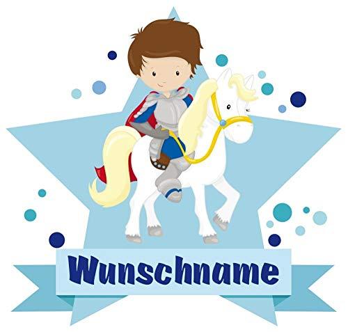 Samunshi® Ritter Aufkleber mit Namen Autoaufkleber Namensaufkleber Kinder in 7 Größen (20x17,5cm Mehrfarbig)