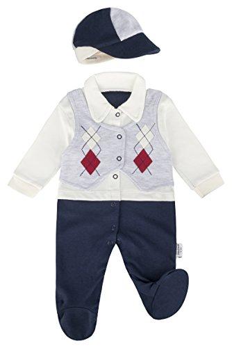 anja-wendt Junge Baby Strampler Einteiler langärmlig grau blau mit Mütze und Weste (56/62 (0-3Mon), rote Raute)