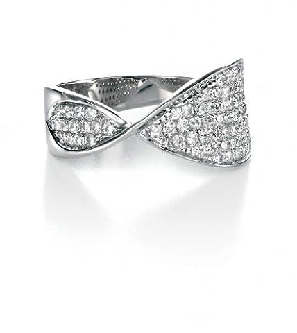 Fiorelli Argent Transparent cubique anneau de zircon Pave Twist