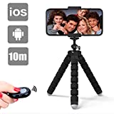 Lidasen Phone Tripod, Tripod Portable Camera Mount Tripod with Remote Shutter FlexibleTravel Outdoor Tripod Compatible with iPhone XR/Xs Max/X/8 Plus,GoPro,4-8inches smart device