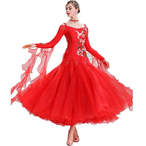 Standard Ballsaal Tanzen Kleider Damen Wettbewerb/Performance-Kostüm Applikationen/Stickereien Foxtrot Tanz Abnutzungs Tango Lange Ärmel Spandex/Polyster,Rot,XL (Applikationen Für Tanz Kostüm)