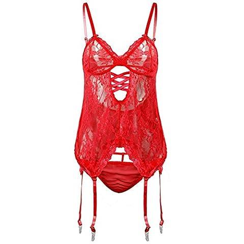 Women Sexy Lingerie Hollow Lace Garter Nightwear Perspective Underwear Suspenders Jupe courte Uniforme dans la Tentation , red , 4xl