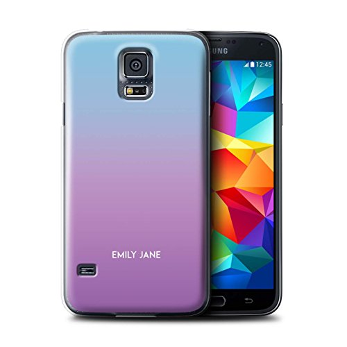 Stuff4 Personalizzato Colori Personalizzati Ombre Custodia/Cover per Samsung Galaxy S5/SV/Porpora/Viola Design/Iniziale/Nome/Testo Caso/Cassa