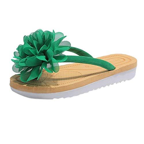iYmitz Flach Hausschuhen Damen Bohemian Sommer Flip Flops Flache Sandalen mit Blumen Outdoor Zehentrenner(Grün,EU 40)