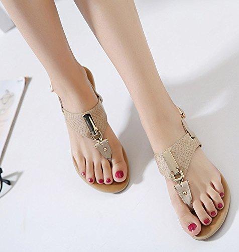Minetom Donna Ragazze Estate Sandali T-Strap Scarpe Di Fibbia In Metallo Con Cinghia Infradito Tallone Piano Spiaggia Albicocca