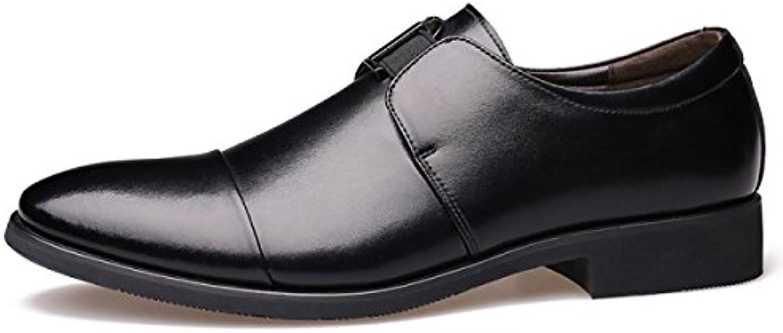 GRRONG Zapatos De Cuero De Los Hombres De Negocios Acentuadas Vestimenta Formal Amarillo Negro