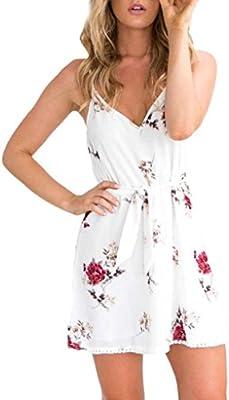 vestidos de mujer,Switchali Mujer Moda verano Vestidos Floral Correas Mini vestido Camisola sin mangas ropa de mujer en oferta blanco