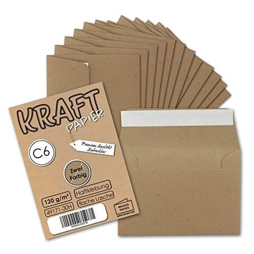 25x Kuverts aus Kraft-Papier in DIN C6 | Haftklebung | 162 x 114 mm | 120 g/m² | Brief-Umschläge aus Recycling-Papier | ideal für Weihnachten, Grußkarten und Einladungen