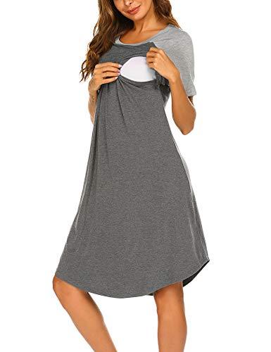 Unibelle Umstandsnachthemd/Still-Nachthemd für Schwangere Kleid Nachthemd-Nachtwäsche zum Stillen Nachtwäsche für Schwangere