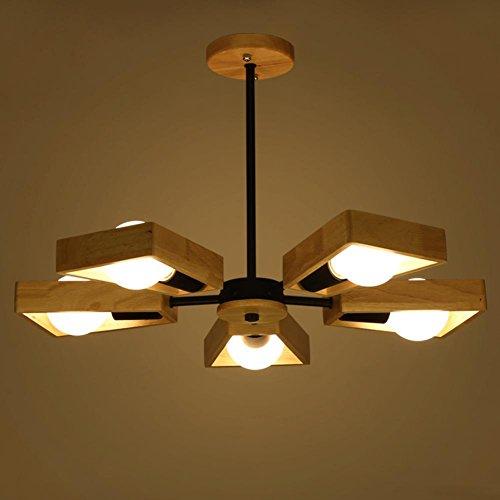 Preisvergleich Produktbild GBT Creative Nordic Massivholz Lampe Modern Einfach Holz Wohnzimmer Lampe Holz Restaurant Lampe Kronleuchter LED Lichter, warm, Licht, Weißes Licht, Kronleuchter, innen-Lichter, Leuchten, Wand-