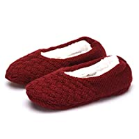Beatrice Grantham710061 Beneficial Women Soft Winter Warm Non Slip Knitted Slipper Socks Gripper Soles Plush New(None WINE RD 39-42)
