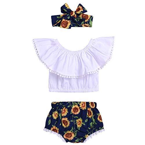 EUCoo_ Kinder Kindermode Kunstfoto Kleidung Kurzarm Schulterfrei Pony Tube Top + Sonnenblumen Shorts + Haarband Set (0,5-3 Jahre)(80) - Pony Plaid Hut