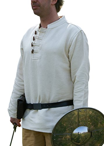 Mittelalter-Hemd schwer aus Baumwolle mit Holzknöpfen handgewebt natur von Battle-Merchant, Mittelalter, LARP, Wikinger Größe (Mittelalter Authentische Kostüme)