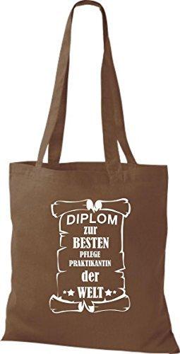 shirtstown Borsa di stoffa DIPLOM A MIGLIOR pflegepraktikantin DEL MONDO Marrone chiaro